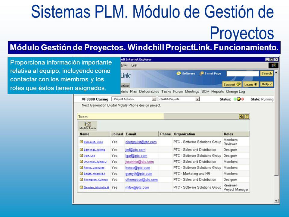 Sistemas PLM. Módulo de Gestión de Proyectos Módulo Gestión de Proyectos. Windchill ProjectLink. Funcionamiento. Proporciona información importante re