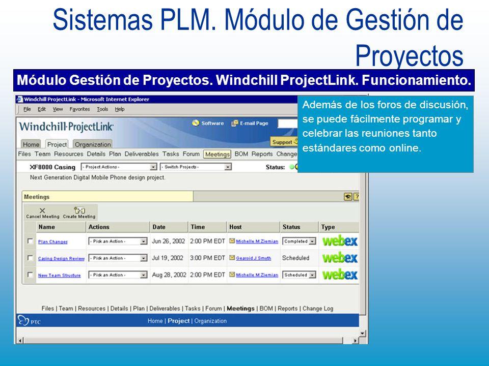 Sistemas PLM. Módulo de Gestión de Proyectos Módulo Gestión de Proyectos. Windchill ProjectLink. Funcionamiento. Además de los foros de discusión, se