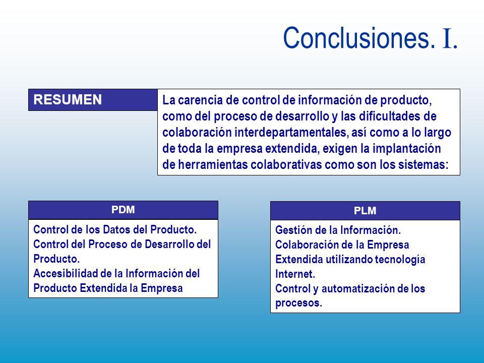 Conclusiones. I. La carencia de control de información de producto, como del proceso de desarrollo y las dificultades de colaboración interdepartament