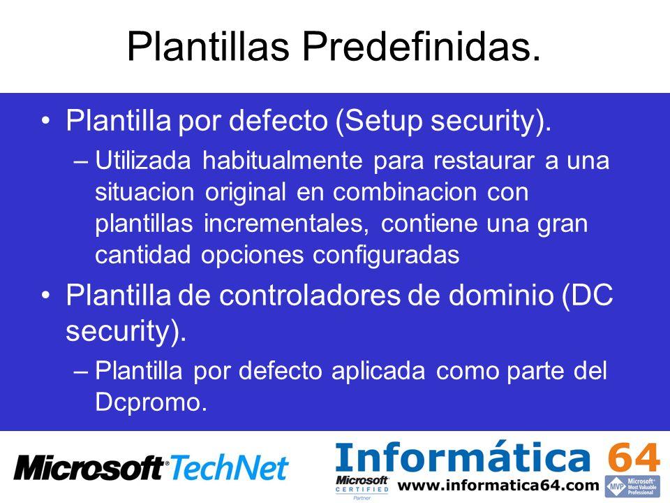 Plantillas Predefinidas. Plantilla por defecto (Setup security). –Utilizada habitualmente para restaurar a una situacion original en combinacion con p