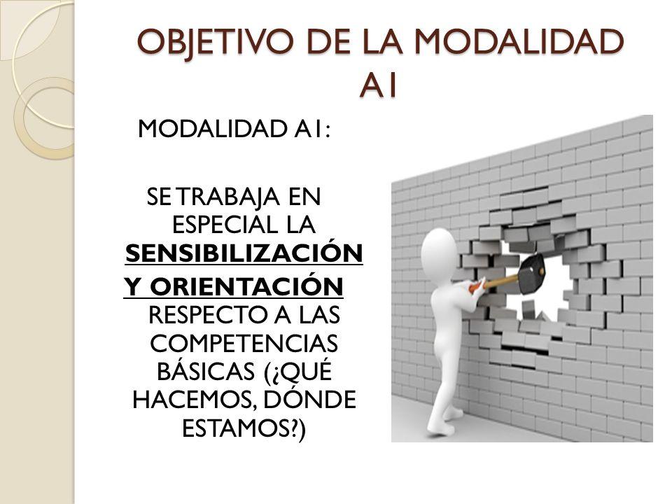 OBJETIVO DE LA MODALIDAD A1 MODALIDAD A1: SE TRABAJA EN ESPECIAL LA SENSIBILIZACIÓN Y ORIENTACIÓN RESPECTO A LAS COMPETENCIAS BÁSICAS (¿QUÉ HACEMOS, D