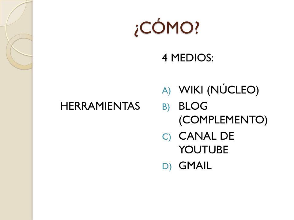 ¿CÓMO? HERRAMIENTAS 4 MEDIOS: A) WIKI (NÚCLEO) B) BLOG (COMPLEMENTO) C) CANAL DE YOUTUBE D) GMAIL
