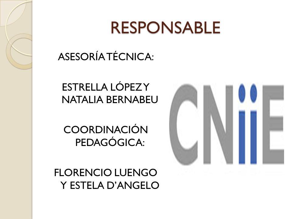 RESPONSABLE ASESORÍA TÉCNICA: ESTRELLA LÓPEZ Y NATALIA BERNABEU COORDINACIÓN PEDAGÓGICA: FLORENCIO LUENGO Y ESTELA DANGELO