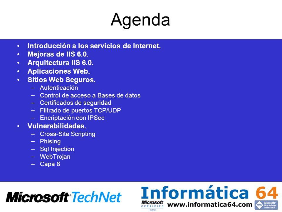 Agenda Introducción a los servicios de Internet. Mejoras de IIS 6.0. Arquitectura IIS 6.0. Aplicaciones Web. Sitios Web Seguros. –Autenticación –Contr