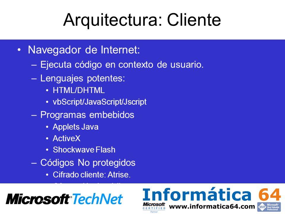 Arquitectura: Cliente Navegador de Internet: –Ejecuta código en contexto de usuario. –Lenguajes potentes: HTML/DHTML vbScript/JavaScript/Jscript –Prog