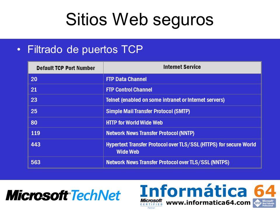 Sitios Web seguros Filtrado de puertos TCP Default TCP Port Number Internet Service 20FTP Data Channel 21FTP Control Channel 23Telnet (enabled on some