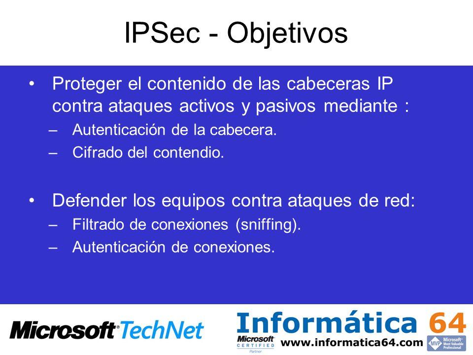 IPSec - Objetivos Proteger el contenido de las cabeceras IP contra ataques activos y pasivos mediante : –Autenticación de la cabecera. –Cifrado del co