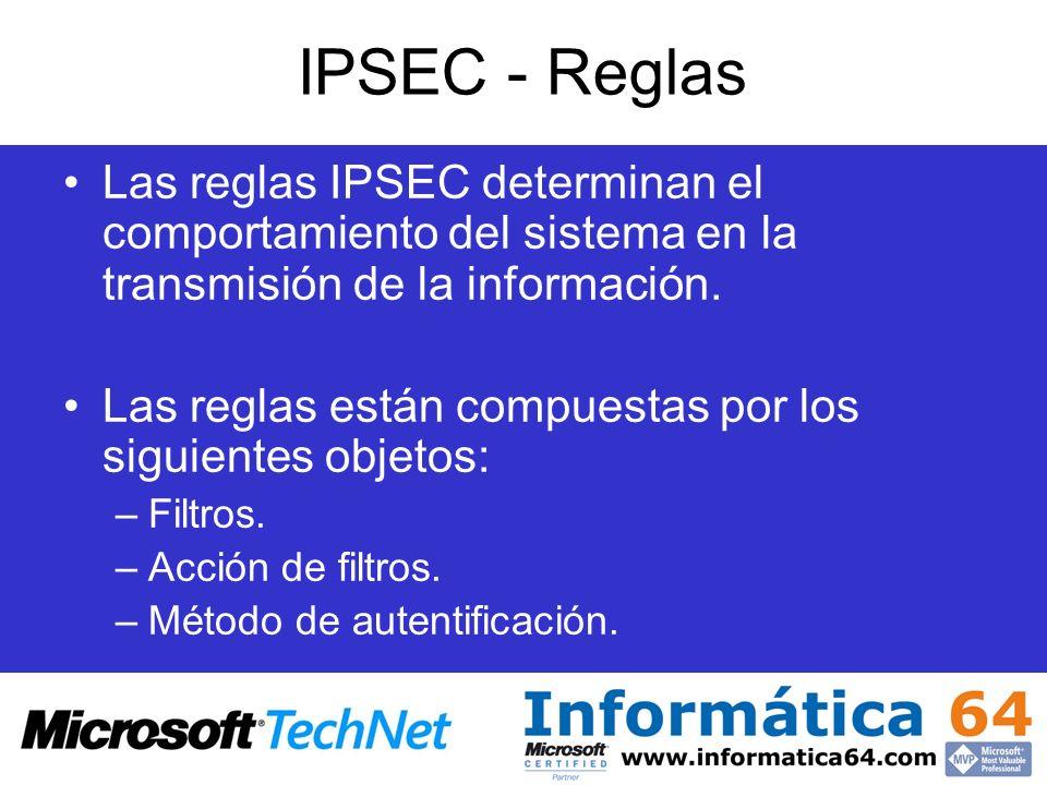 IPSEC - Reglas Las reglas IPSEC determinan el comportamiento del sistema en la transmisión de la información. Las reglas están compuestas por los sigu