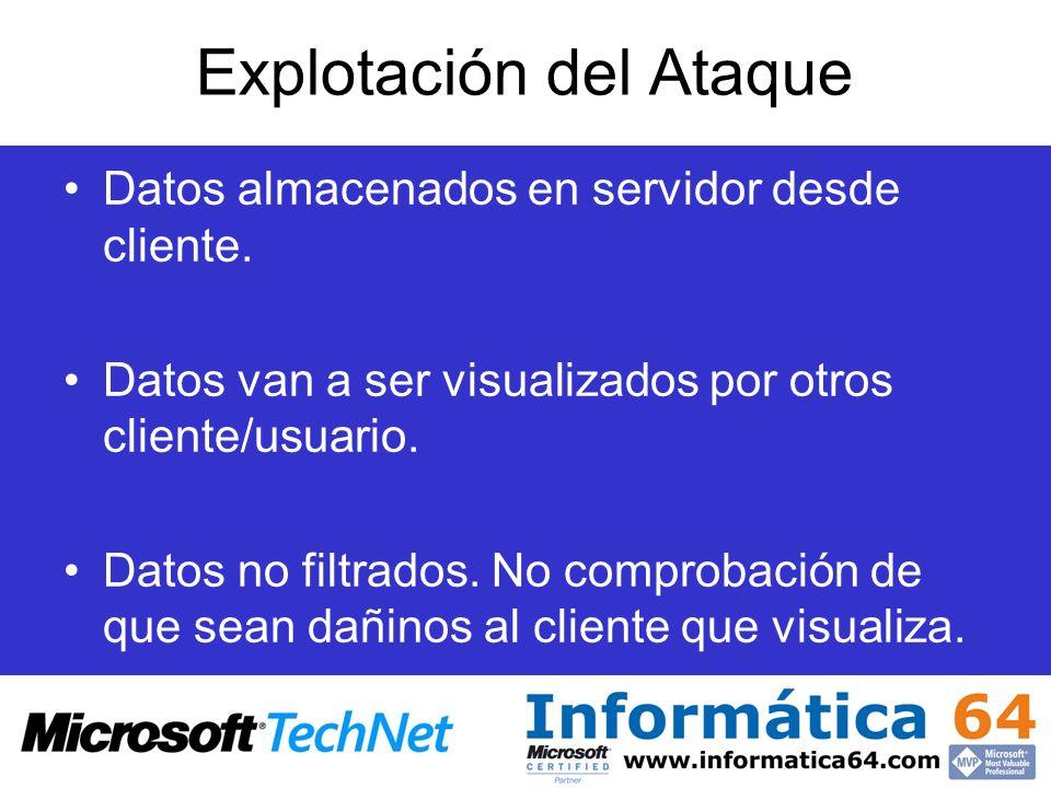Explotación del Ataque Datos almacenados en servidor desde cliente. Datos van a ser visualizados por otros cliente/usuario. Datos no filtrados. No com