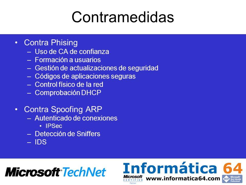 Contramedidas Contra Phising –Uso de CA de confianza –Formación a usuarios –Gestión de actualizaciones de seguridad –Códigos de aplicaciones seguras –
