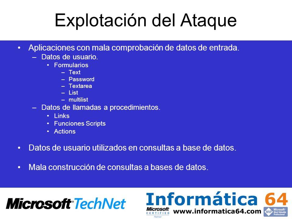 Explotación del Ataque Aplicaciones con mala comprobación de datos de entrada. –Datos de usuario. Formularios –Text –Password –Textarea –List –multili