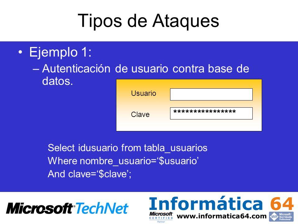 Tipos de Ataques Ejemplo 1: –Autenticación de usuario contra base de datos. Select idusuario from tabla_usuarios Where nombre_usuario=$usuario And cla