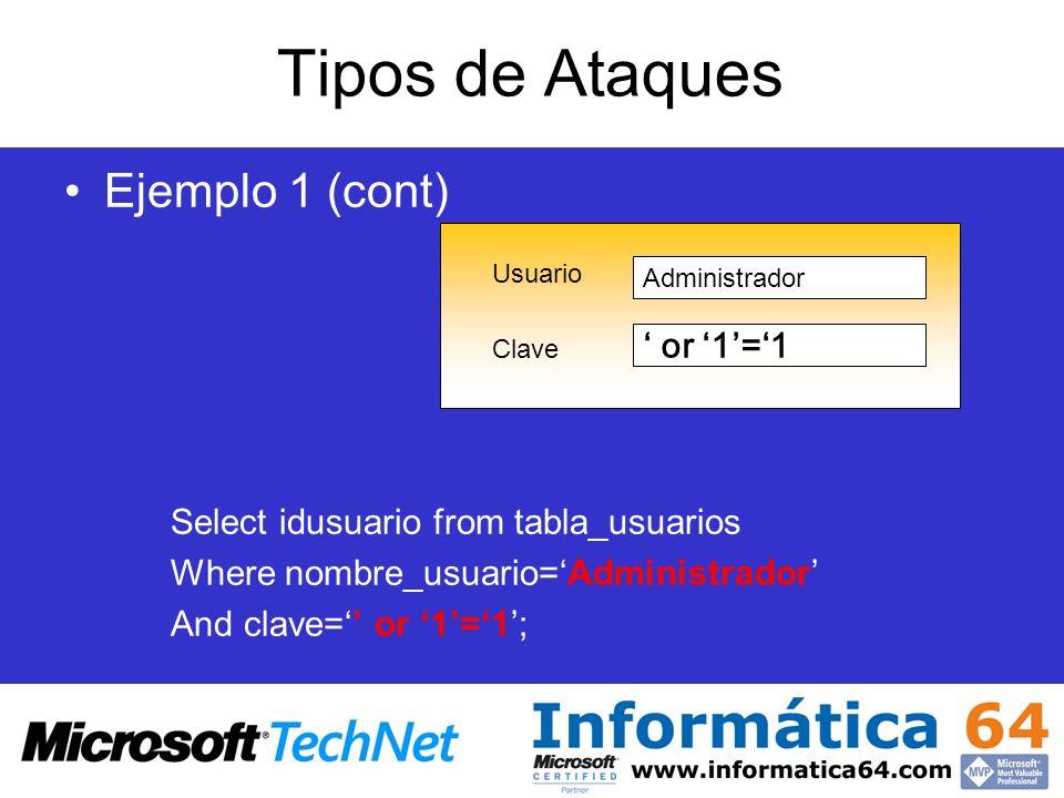 Tipos de Ataques Ejemplo 1 (cont) Select idusuario from tabla_usuarios Where nombre_usuario=Administrador And clave= or 1=1; Usuario Clave Administrad