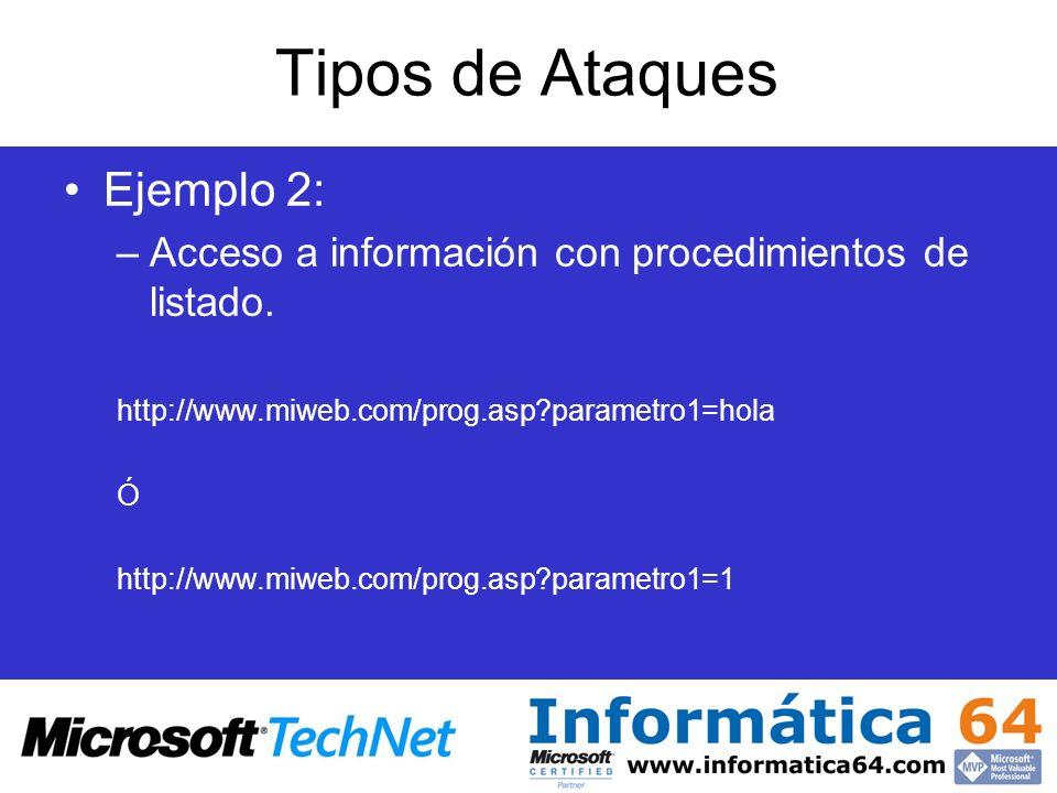 Tipos de Ataques Ejemplo 2: –Acceso a información con procedimientos de listado. http://www.miweb.com/prog.asp?parametro1=hola Ó http://www.miweb.com/