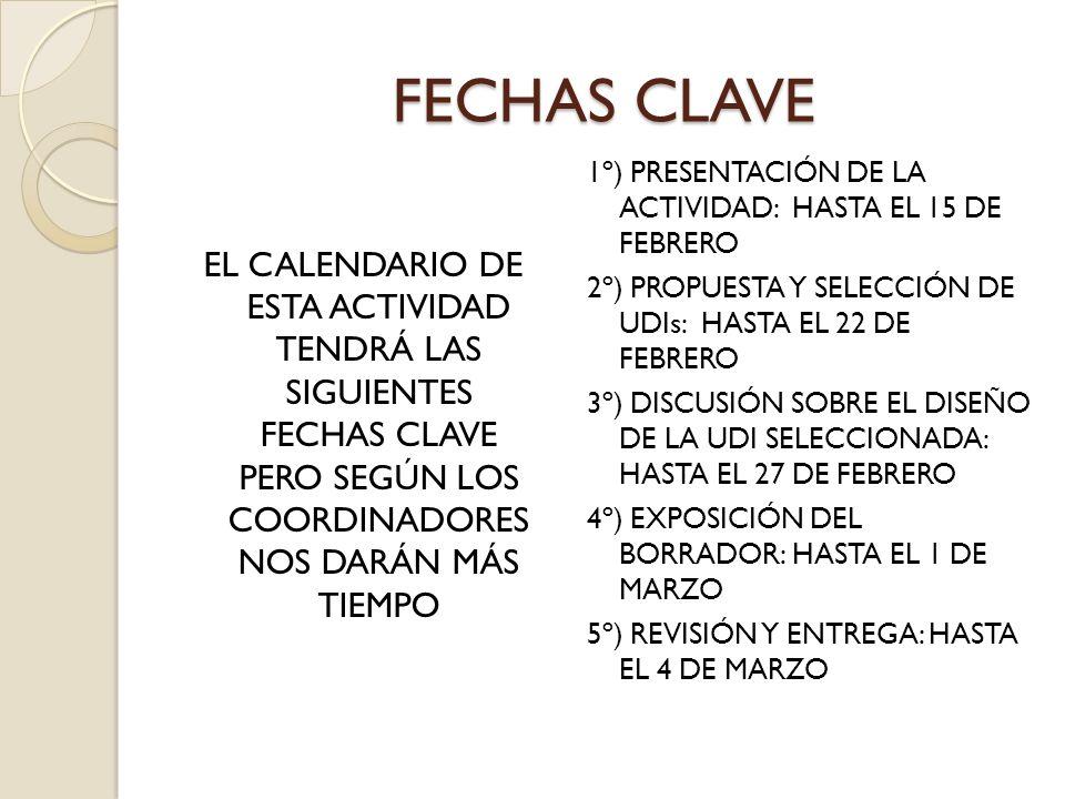FECHAS CLAVE EL CALENDARIO DE ESTA ACTIVIDAD TENDRÁ LAS SIGUIENTES FECHAS CLAVE PERO SEGÚN LOS COORDINADORES NOS DARÁN MÁS TIEMPO 1º) PRESENTACIÓN DE