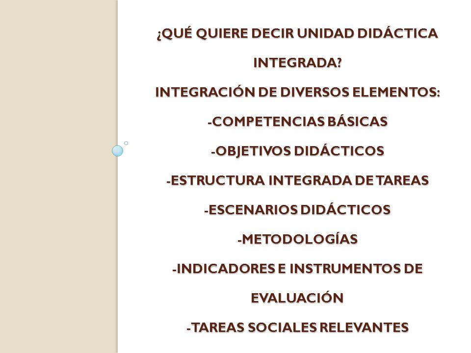 ¿QUÉ QUIERE DECIR UNIDAD DIDÁCTICA INTEGRADA? INTEGRACIÓN DE DIVERSOS ELEMENTOS: -COMPETENCIAS BÁSICAS -OBJETIVOS DIDÁCTICOS -ESTRUCTURA INTEGRADA DE