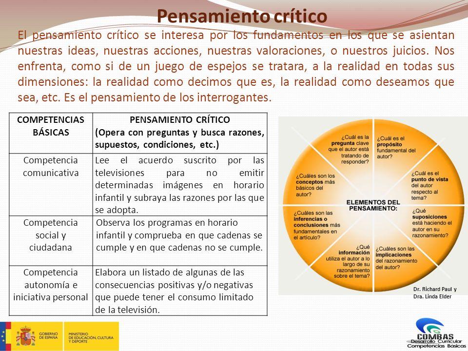Pensamiento crítico El pensamiento crítico se interesa por los fundamentos en los que se asientan nuestras ideas, nuestras acciones, nuestras valoraci