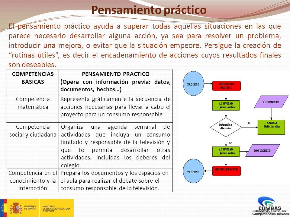 Pensamiento práctico El pensamiento práctico ayuda a superar todas aquellas situaciones en las que parece necesario desarrollar alguna acción, ya sea