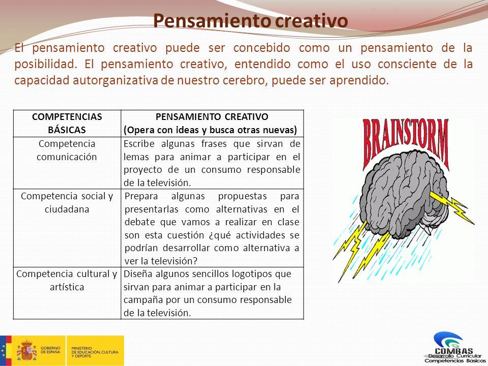 Pensamiento creativo El pensamiento creativo puede ser concebido como un pensamiento de la posibilidad. El pensamiento creativo, entendido como el uso