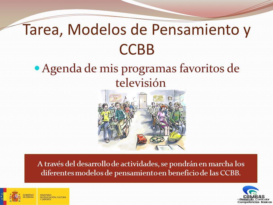 Tarea, Modelos de Pensamiento y CCBB Agenda de mis programas favoritos de televisión A través del desarrollo de actividades, se pondrán en marcha los
