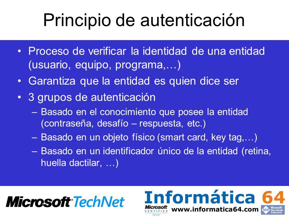 Principio de autenticación Proceso de verificar la identidad de una entidad (usuario, equipo, programa,…) Garantiza que la entidad es quien dice ser 3