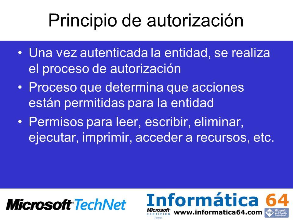 Principio de autorización Una vez autenticada la entidad, se realiza el proceso de autorización Proceso que determina que acciones están permitidas pa