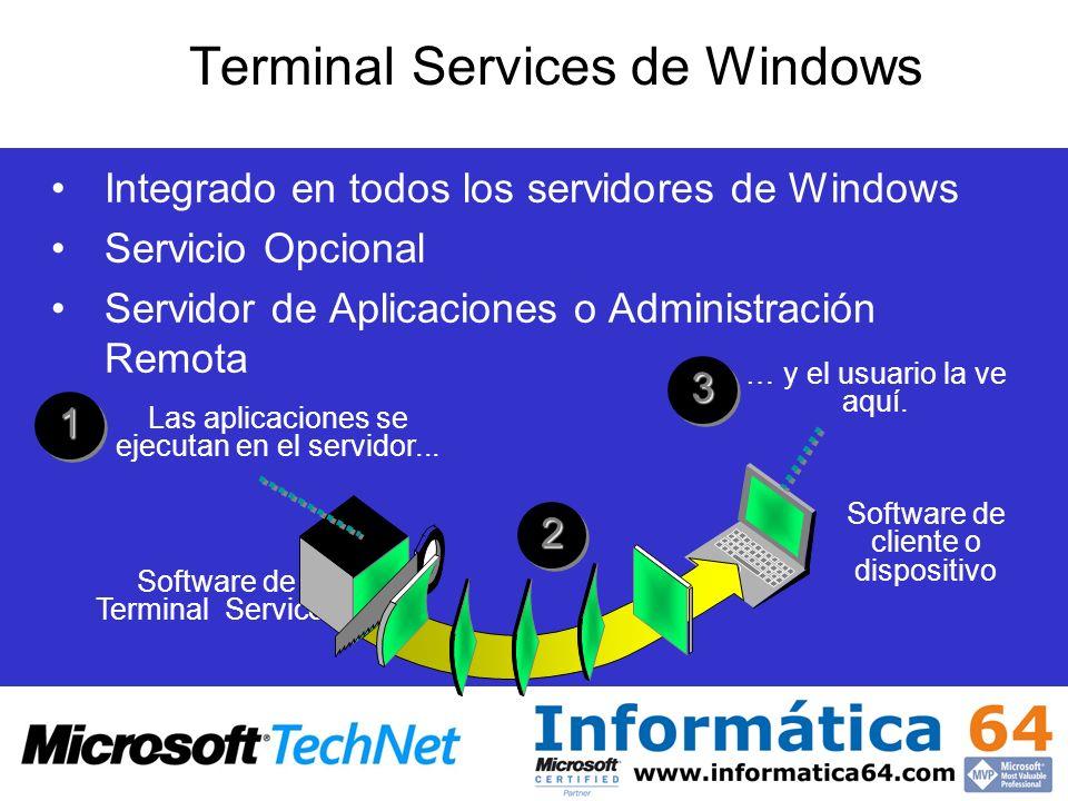 Software de Terminal Services Las aplicaciones se ejecutan en el servidor... 11 22 … y el usuario la ve aquí.33 Software de cliente o dispositivo Term
