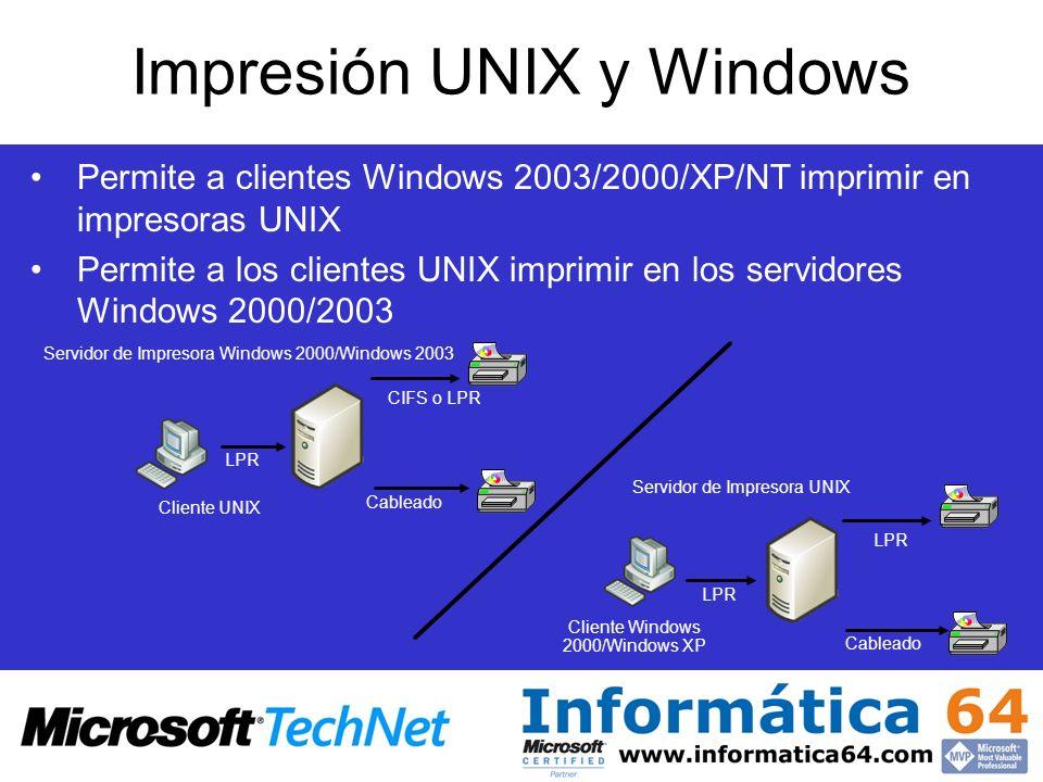 Impresión UNIX y Windows Permite a clientes Windows 2003/2000/XP/NT imprimir en impresoras UNIX Permite a los clientes UNIX imprimir en los servidores