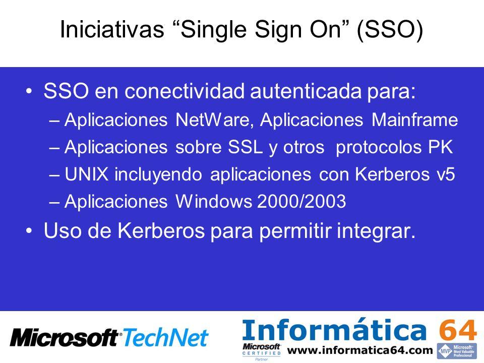 Iniciativas Single Sign On (SSO) SSO en conectividad autenticada para: –Aplicaciones NetWare, Aplicaciones Mainframe –Aplicaciones sobre SSL y otros p