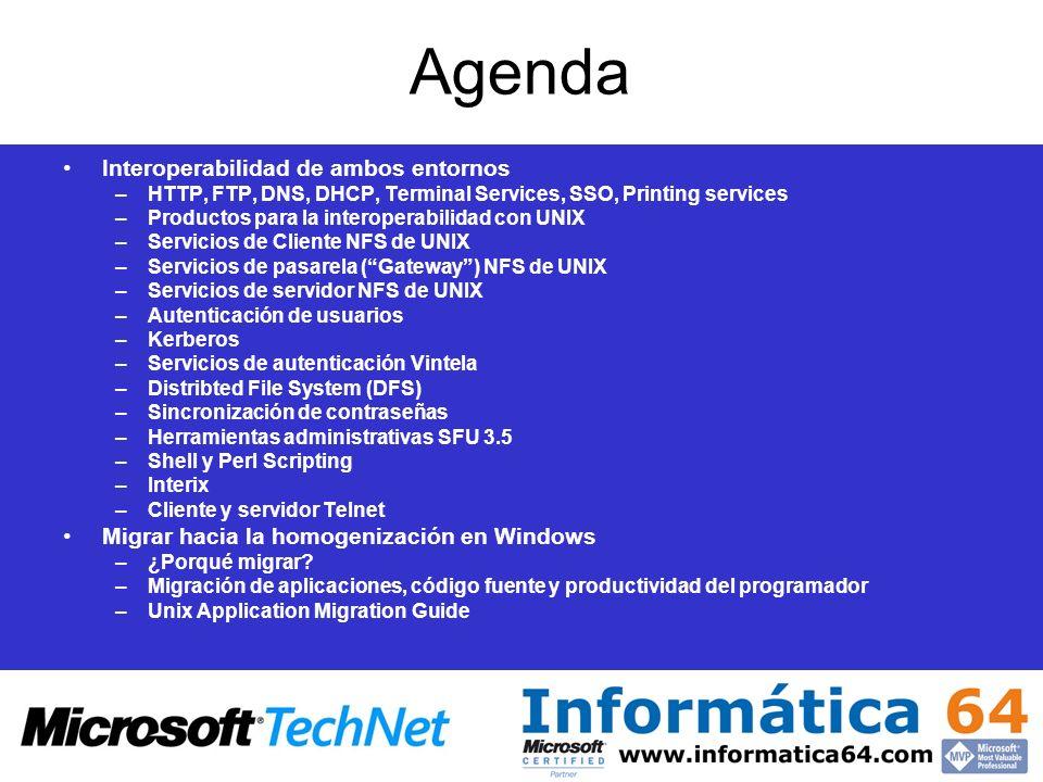 Agenda Interoperabilidad de ambos entornos –HTTP, FTP, DNS, DHCP, Terminal Services, SSO, Printing services –Productos para la interoperabilidad con U