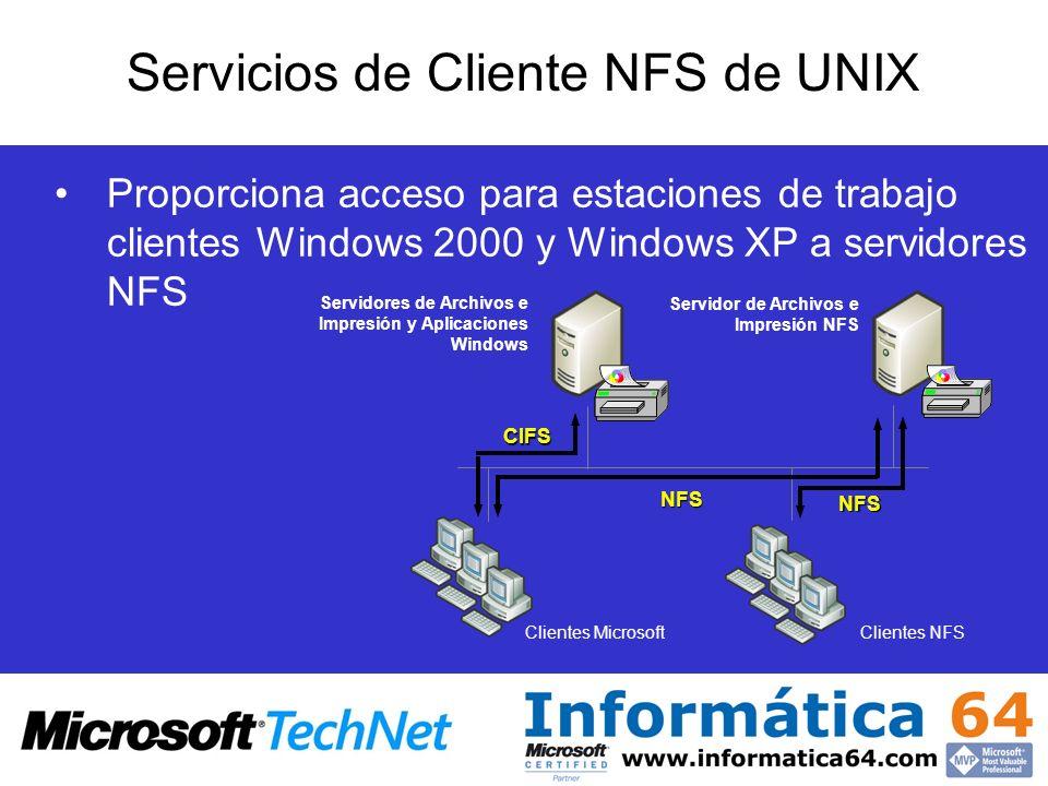 Proporciona acceso para estaciones de trabajo clientes Windows 2000 y Windows XP a servidores NFS Servicios de Cliente NFS de UNIX CIFS NFS NFS Client