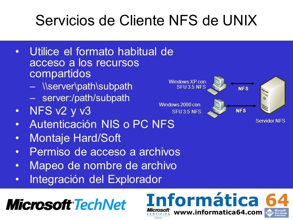 Utilice el formato habitual de acceso a los recursos compartidos –\\server\path\subpath –server:/path/subpath NFS v2 y v3 Autenticación NIS o PC NFS M