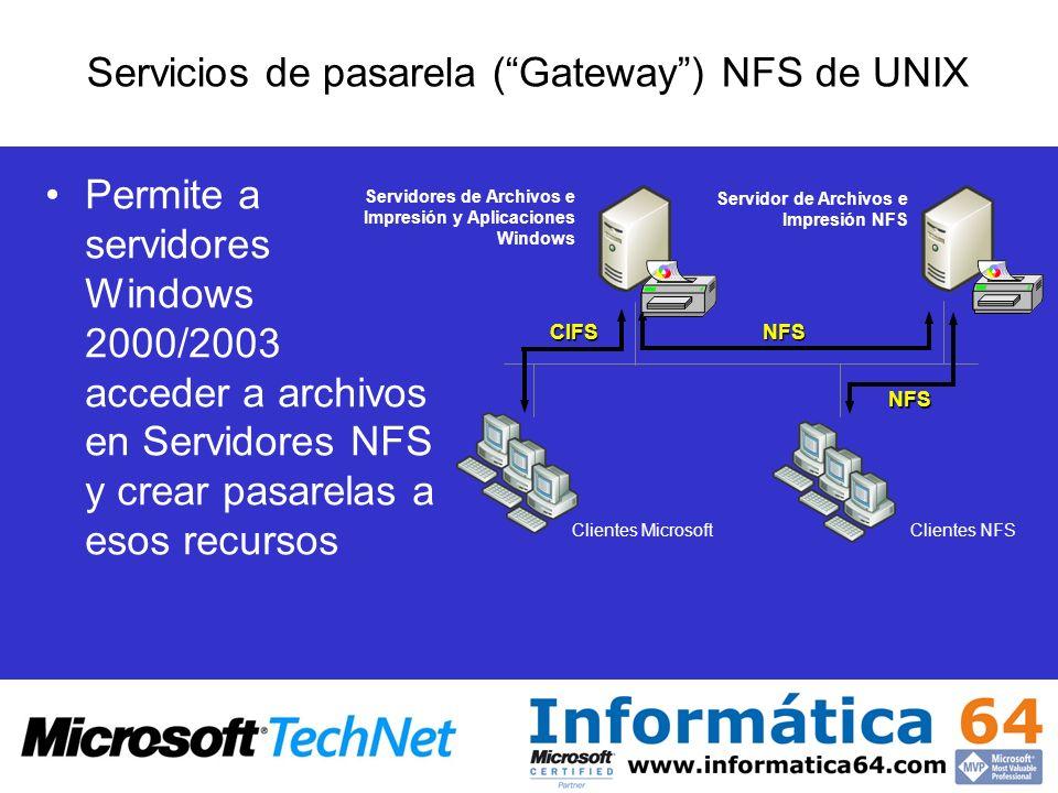 Permite a servidores Windows 2000/2003 acceder a archivos en Servidores NFS y crear pasarelas a esos recursos Servicios de pasarela (Gateway) NFS de U