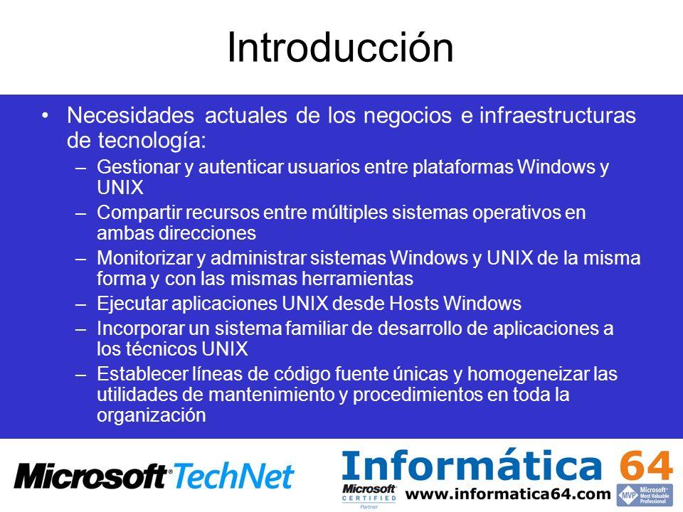 Servicios de Servidor NFS de UNIX Proporciona recursos de disco sobre servidores Windows 2000/2003 a clientes NFS NFS CIFS NFS Clientes Microsoft Servidor de Archivos e Impresión NFS Servidores de Archivos e Impresión y Aplicaciones Windows Clientes NFS