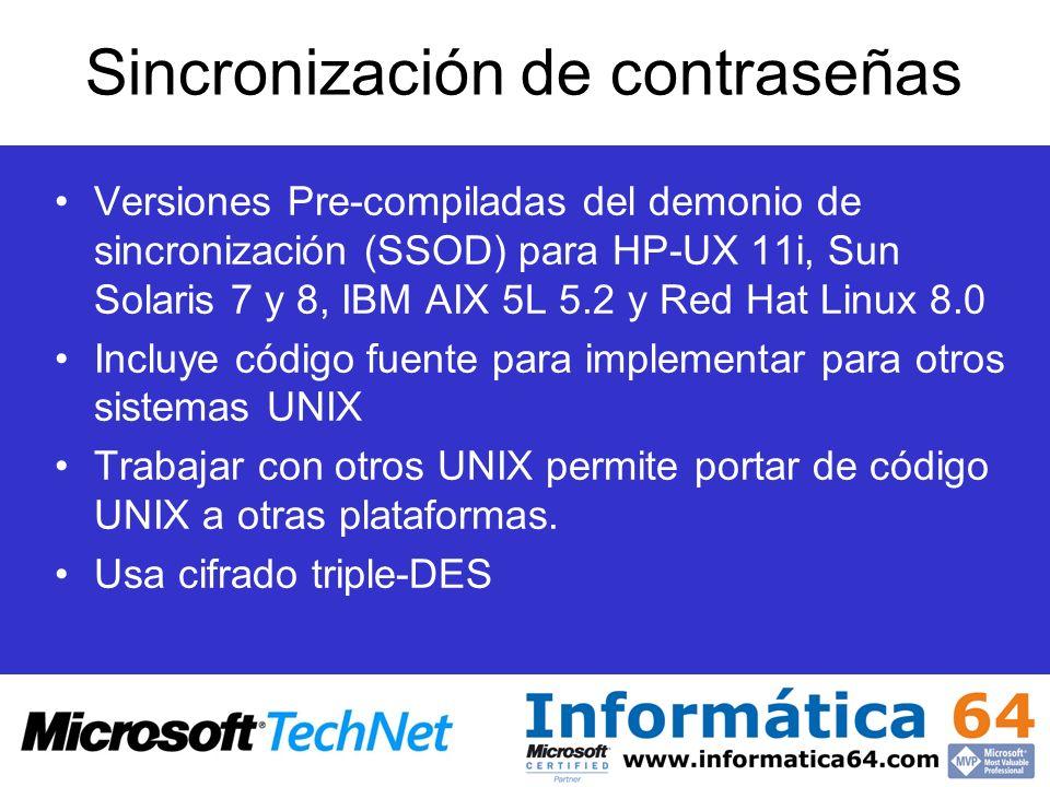 Versiones Pre-compiladas del demonio de sincronización (SSOD) para HP-UX 11i, Sun Solaris 7 y 8, IBM AIX 5L 5.2 y Red Hat Linux 8.0 Incluye código fue