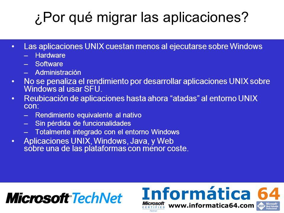 ¿Por qué migrar las aplicaciones? Las aplicaciones UNIX cuestan menos al ejecutarse sobre Windows –Hardware –Software –Administración No se penaliza e
