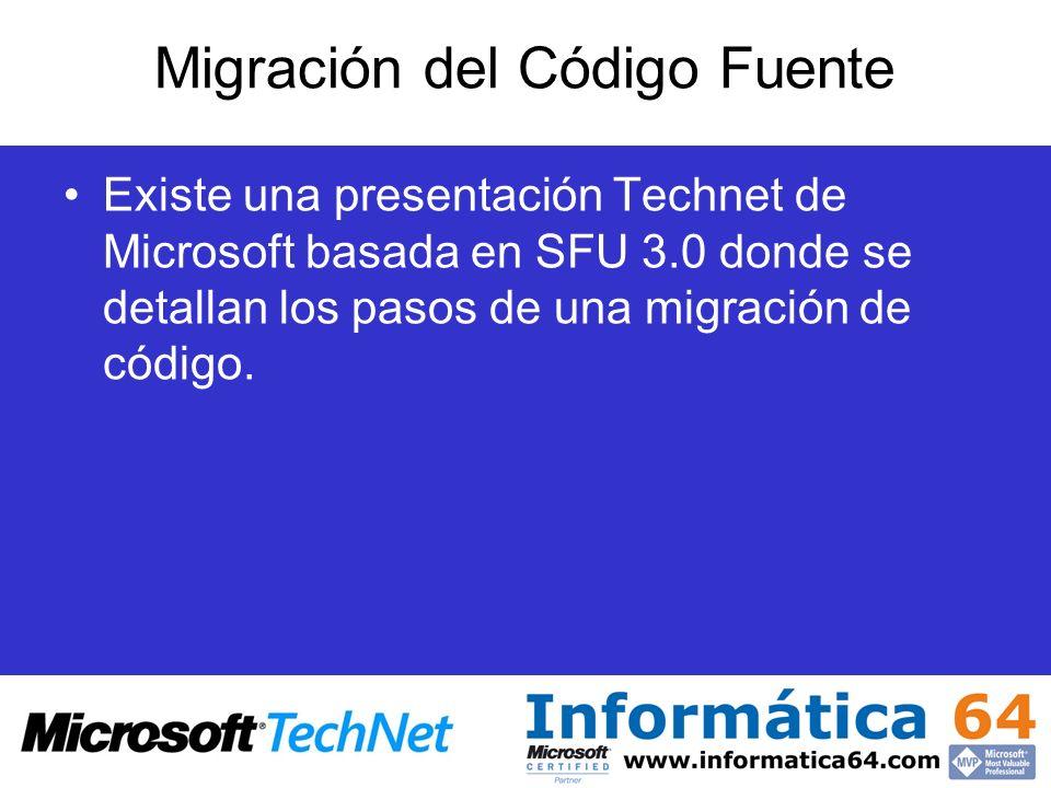 Migración del Código Fuente Existe una presentación Technet de Microsoft basada en SFU 3.0 donde se detallan los pasos de una migración de código.