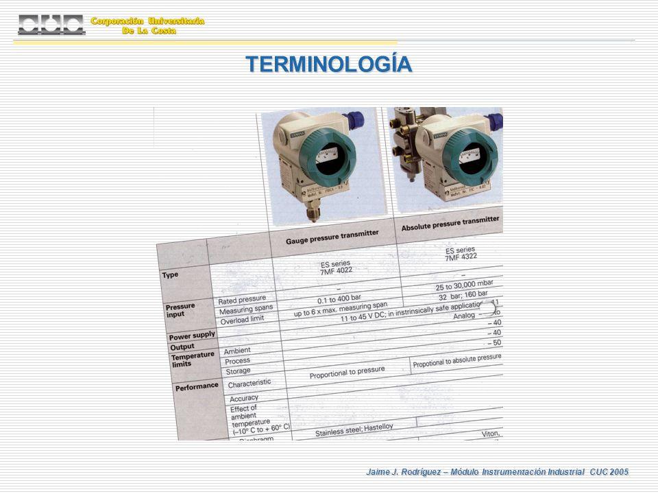 Jaime J. Rodríguez – Módulo Instrumentación Industrial CUC 2005 TERMINOLOGÍA