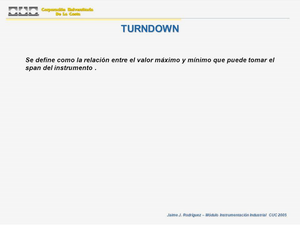 Jaime J. Rodríguez – Módulo Instrumentación Industrial CUC 2005 TURNDOWN Se define como la relación entre el valor máximo y mínimo que puede tomar el