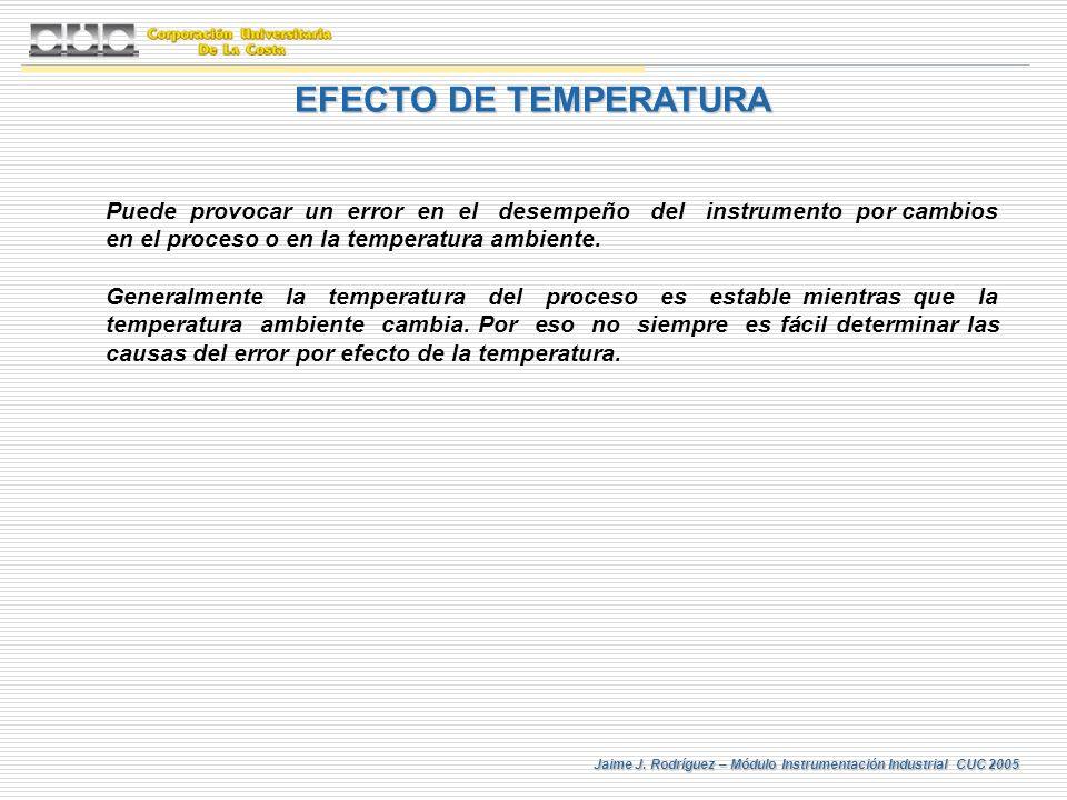 Jaime J. Rodríguez – Módulo Instrumentación Industrial CUC 2005 EFECTO DE TEMPERATURA Puede provocar un error en el desempeño del instrumento por camb