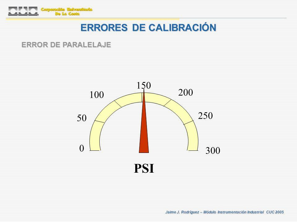 Jaime J. Rodríguez – Módulo Instrumentación Industrial CUC 2005 ERRORES DE CALIBRACIÓN ERROR DE PARALELAJE 0 300 150 200 250 50 100 PSI