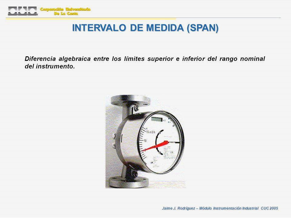 Jaime J. Rodríguez – Módulo Instrumentación Industrial CUC 2005 INTERVALO DE MEDIDA (SPAN) Diferencia algebraica entre los límites superior e inferior