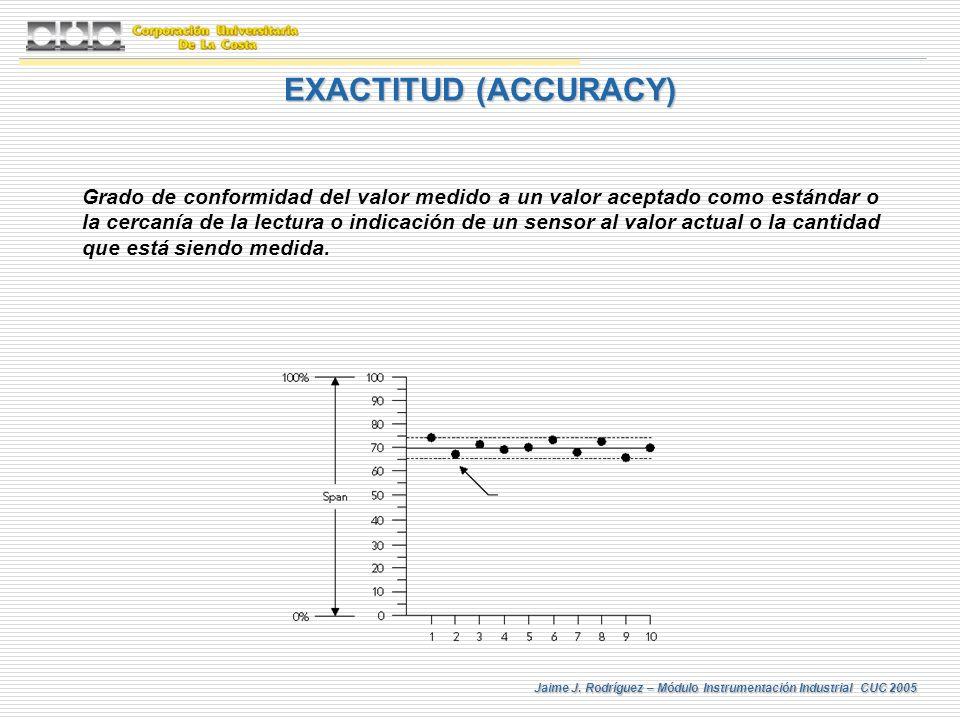 Jaime J. Rodríguez – Módulo Instrumentación Industrial CUC 2005 Grado de conformidad del valor medido a un valor aceptado como estándar o la cercanía