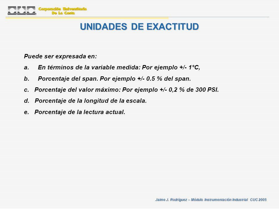 Jaime J. Rodríguez – Módulo Instrumentación Industrial CUC 2005 Puede ser expresada en: a.En términos de la variable medida: Por ejemplo +/- 1°C, b.Po
