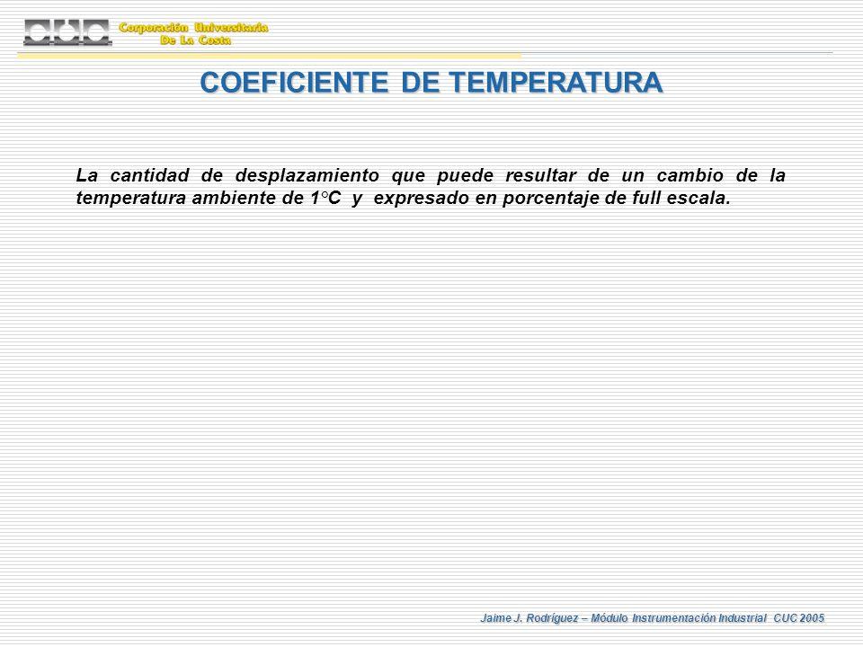 Jaime J. Rodríguez – Módulo Instrumentación Industrial CUC 2005 COEFICIENTE DE TEMPERATURA La cantidad de desplazamiento que puede resultar de un camb