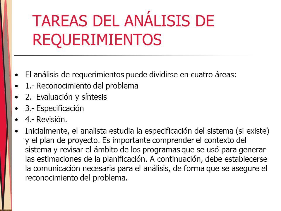 TAREAS DEL ANÁLISIS DE REQUERIMIENTOS El análisis de requerimientos puede dividirse en cuatro áreas: 1.- Reconocimiento del problema 2.- Evaluación y síntesis 3.- Especificación 4.- Revisión.