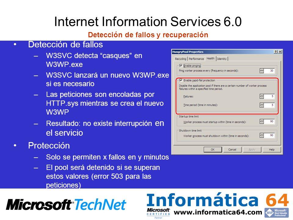 Internet Information Services 6.0 Detección de fallos y recuperación Detección de fallos –W3SVC detecta casques en W3WP.exe –W3SVC lanzará un nuevo W3