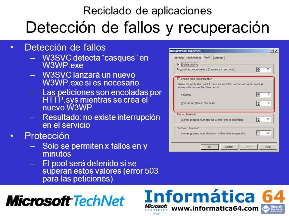Reciclado de aplicaciones Detección de fallos y recuperación Detección de fallos –W3SVC detecta casques en W3WP.exe –W3SVC lanzará un nuevo W3WP.exe s