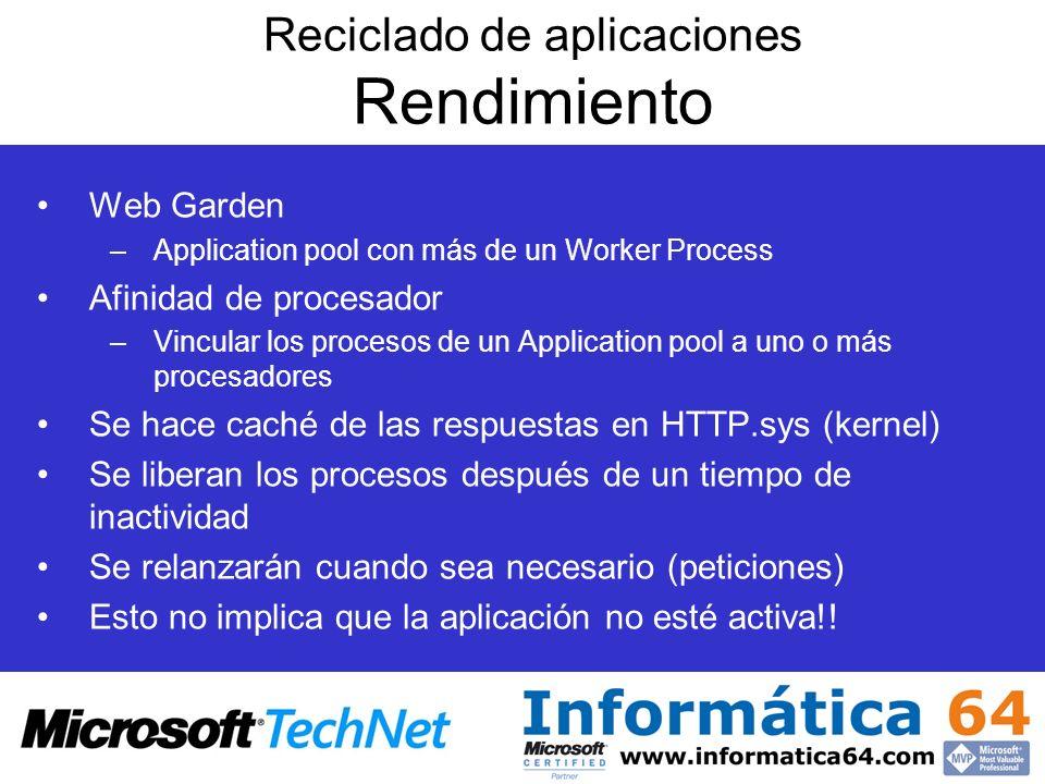 Reciclado de aplicaciones Rendimiento Web Garden –Application pool con más de un Worker Process Afinidad de procesador –Vincular los procesos de un Ap