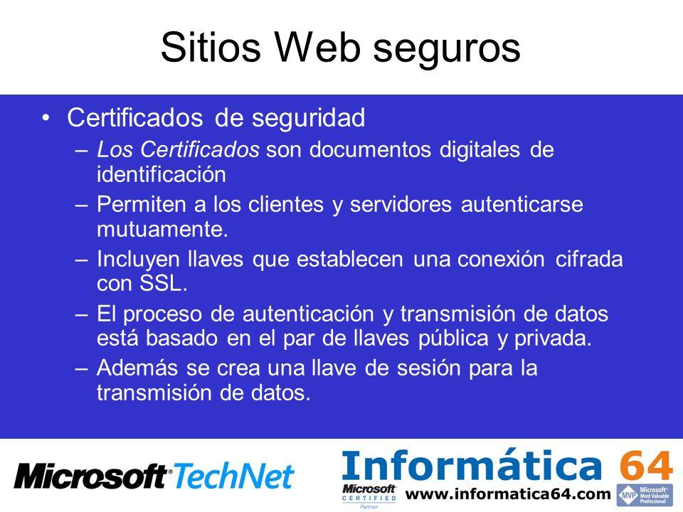 Sitios Web seguros Certificados de seguridad –Los Certificados son documentos digitales de identificación –Permiten a los clientes y servidores autent